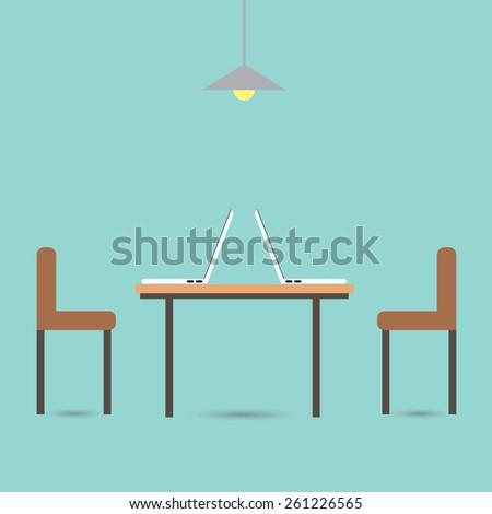 Computer desk, workplace - stock vector