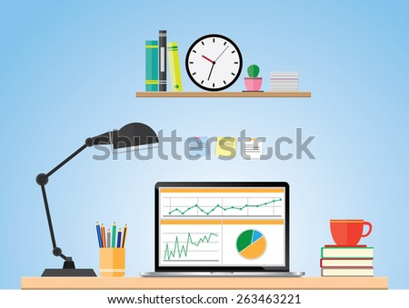 Computer desk, workplace cartoon, business concept, vector - stock vector