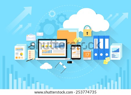 Computer device data cloud storage security flat design vector illustration - stock vector