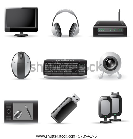 computer device icons - stock vector