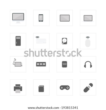 Computer device icons set. - stock vector