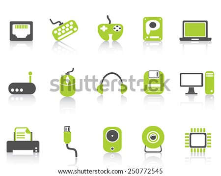 computer device icons set ,green series - stock vector