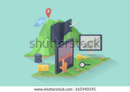 Computer device vector illustration, web design - stock vector