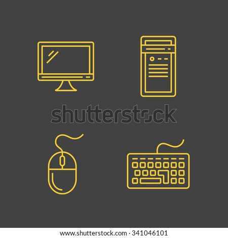 Computer devices and computer peripherals. Vector outlined icons. Linear style - stock vector