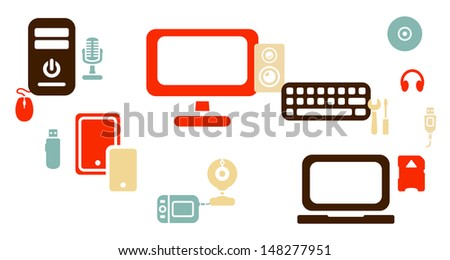 Computer devices theme background - stock vector