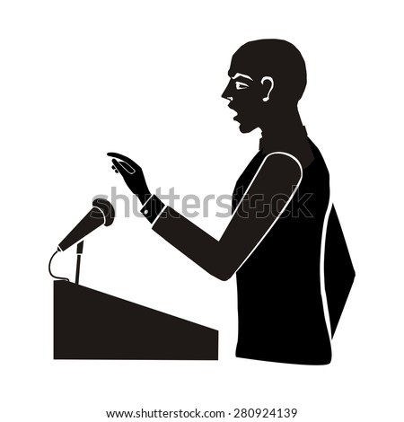 computer drawing,  vector, silhouette figure in profile, illustration of political debate, speaker speak from the podium, elections