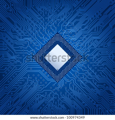 Computer electronic circuit - stock vector
