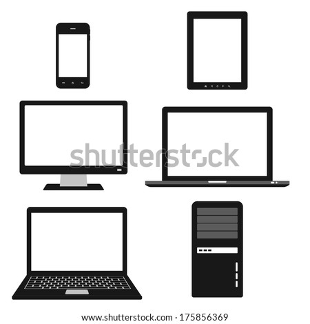 computer, electronic device icons set. black and white laptop, tablet, computer and smart phone. flat template elements - stock vector