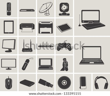 computer, electronic device, tv and media vector icons set - stock vector