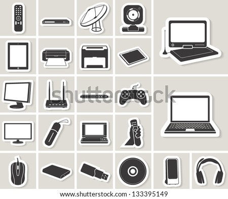 computer, electronic device, tv and media vector icons set. paper stickers - stock vector