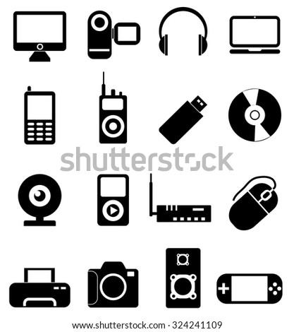 Computer electronic devices icons set