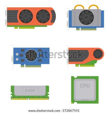 Computer elements - graphics cards, RAM, processor. Vector set. - stock vector