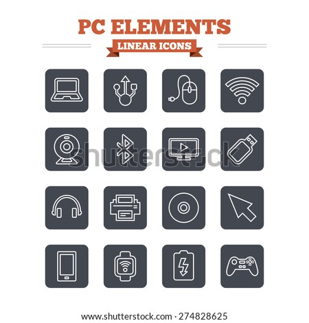 Computer elements linear icons set. Notebook, usb port and smartphone. Printer, smart watch and game console joystick. Bluetooth, flash stick and cursor pointer. Thin outline signs. Flat square vector - stock vector
