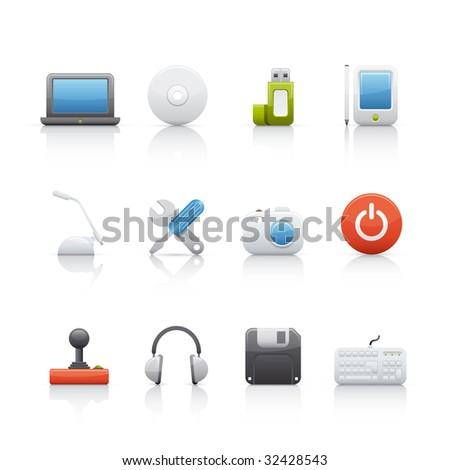Computer Equipment Icon Set - stock vector