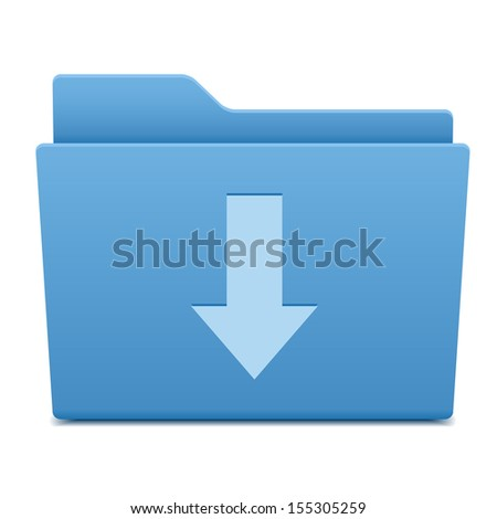 Computer folder with download symbol - stock vector
