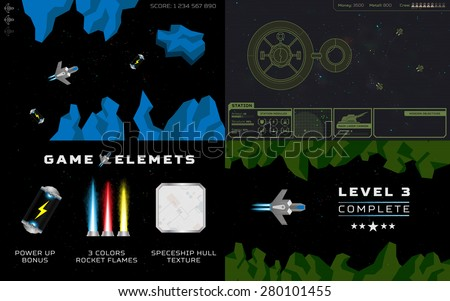 Computer game concept. Set of 4 screens with space levels and game elements: spaceships, rocks, fuel cells, star base, flames, lasers, icons, interface, units and more - stock vector