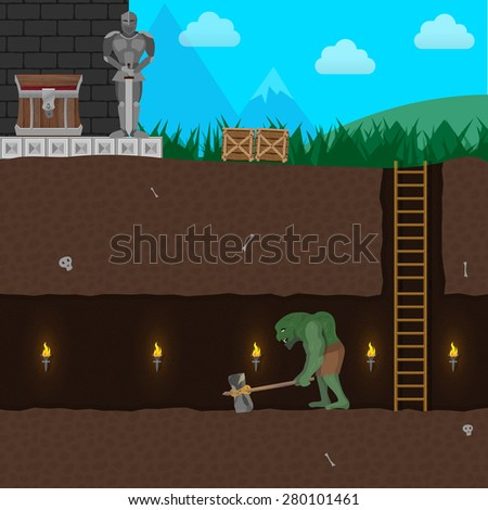 Computer game level with Ogre, Warrior, Underground Tunnel and more - stock vector