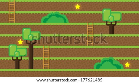 Computer game world - forest - stock vector