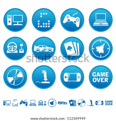 Computer games icons - stock vector