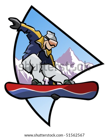 Computer generated illustration: jumping snowboarder upon a mountain background - stock vector