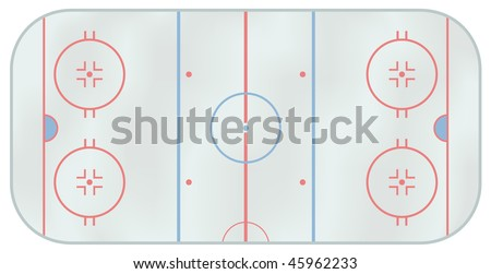 Computer generated illustration of an ice hockey rink. Above view - stock vector
