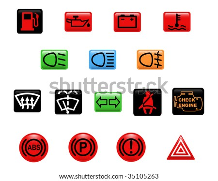 Computer generated illustration. Set of icons: car warning lights - stock vector