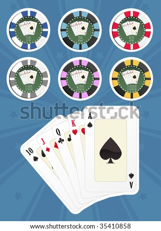 Computer generated illustration: set of poker cards and chips