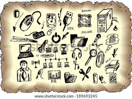 computer hand drawn collection - stock vector