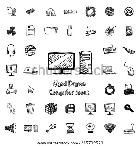computer hand drawn icons