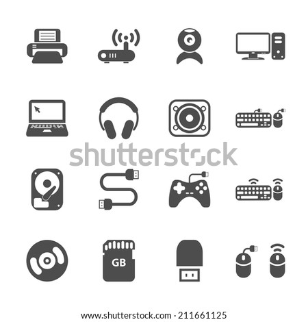 computer hardware and accessories icon set, vector eps10. - stock vector