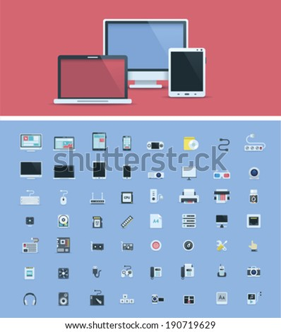 Computer hardware icon set - stock vector