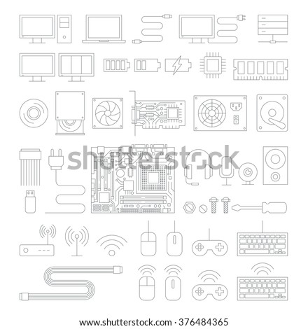 Computer hardware line icons set. Vector Illustration. - stock vector