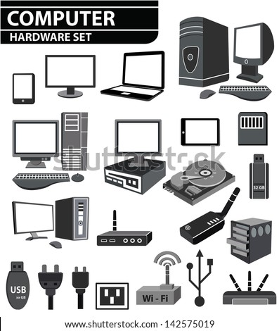 Computer hardware Network and mobile devices set,vector