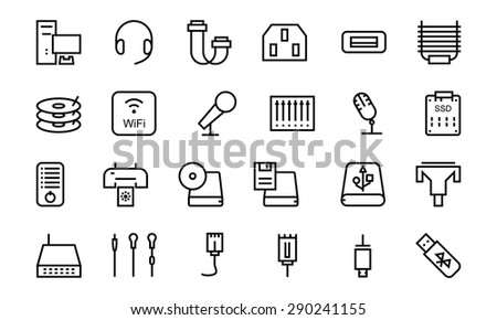 Computer Hardware Vector Line Icons 4 - stock vector