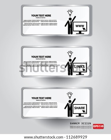 Computer icon and blank for text,Banner,Vector - stock vector