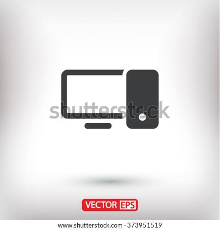 Computer   icon, computer   vector icon, computer   icon illustration, computer   icon eps, computer   icon picture, computer   flat icon, computer   icon design - stock vector
