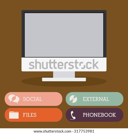 Computer icon concept over flat design, vector illustration eps 10