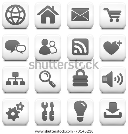 Computer Icon on Square Black and White Button Collection Original Illustration - stock vector