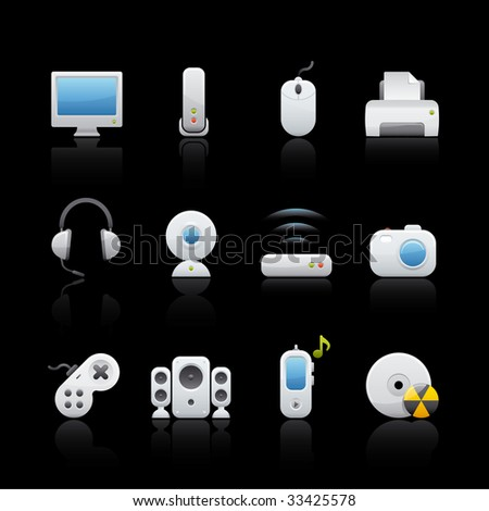 Computer Icon Set in Black. Vector in Adobe Illustrator EPS 8 for multiple applications.