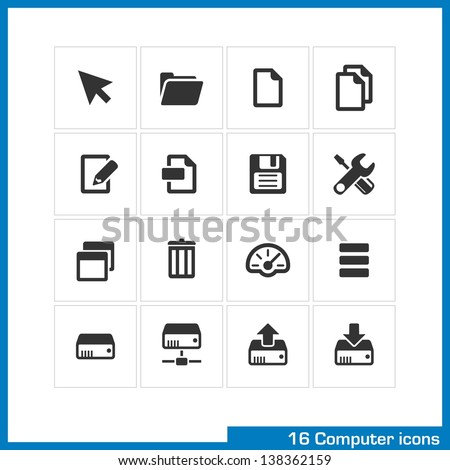 Computer icon set. Vector black pictograms for web and mobile apps, internet, interface design: cursor, folder, file, copy, edit, save, settings, dashboard, network drive, download, upload  symbol - stock vector