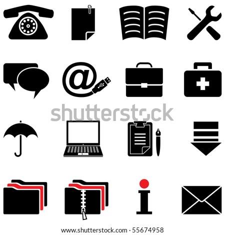computer icon set (vector, CMYK) - stock vector