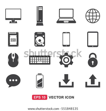 Computer Icon Set Vector (Personal Computer, CPU, Laptop, Web, Smart Phone, etc.)