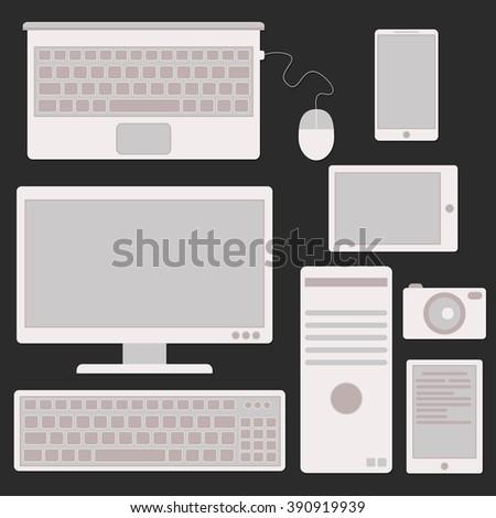 Computer icon white - stock vector