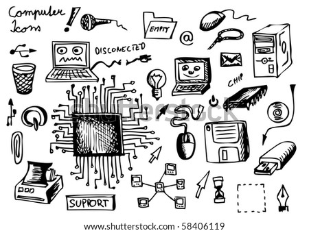 computer icons - stock vector