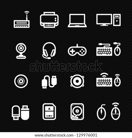 Computer Icons and and Computer Accessories Icons with Black Background - stock vector