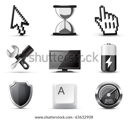 Computer icons | B&W series - stock vector