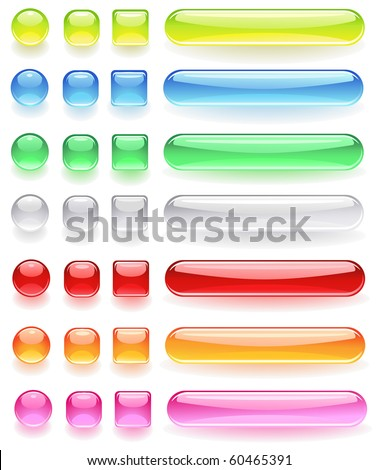 computer icons from the bright colored, transparent glass on a white background. - stock vector