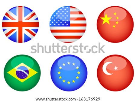 Computer icons in the form of buttons with state flags - stock vector