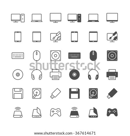 Computer icons, included normal and enable state. - stock vector