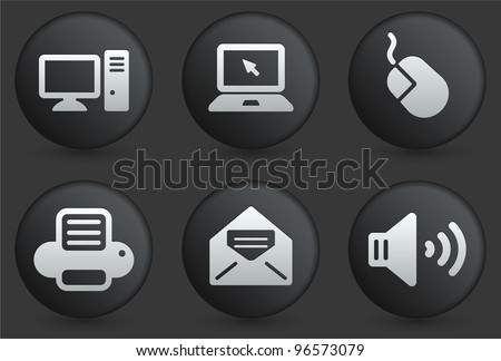 Computer Icons on Black Internet Button Collection Original Illustration - stock vector